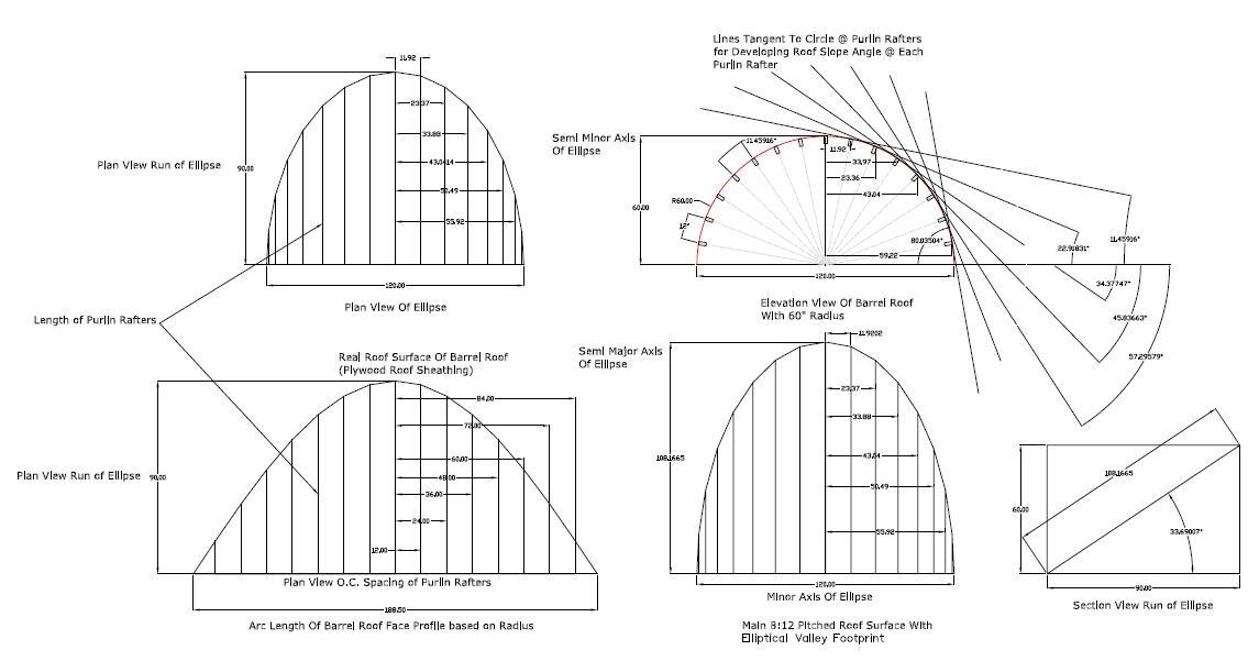 Barrel Roof Rafter Framing Calculator